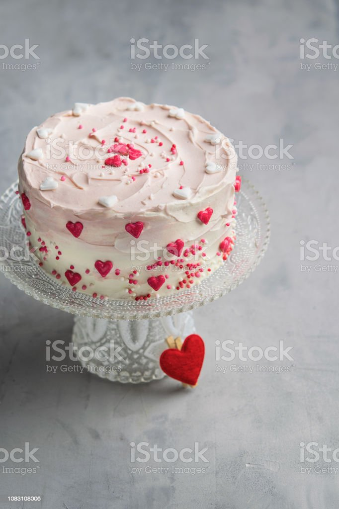 Enjoyable Birthday Cake For Valentines Day With Pink Hearts And Colorful Birthday Cards Printable Riciscafe Filternl