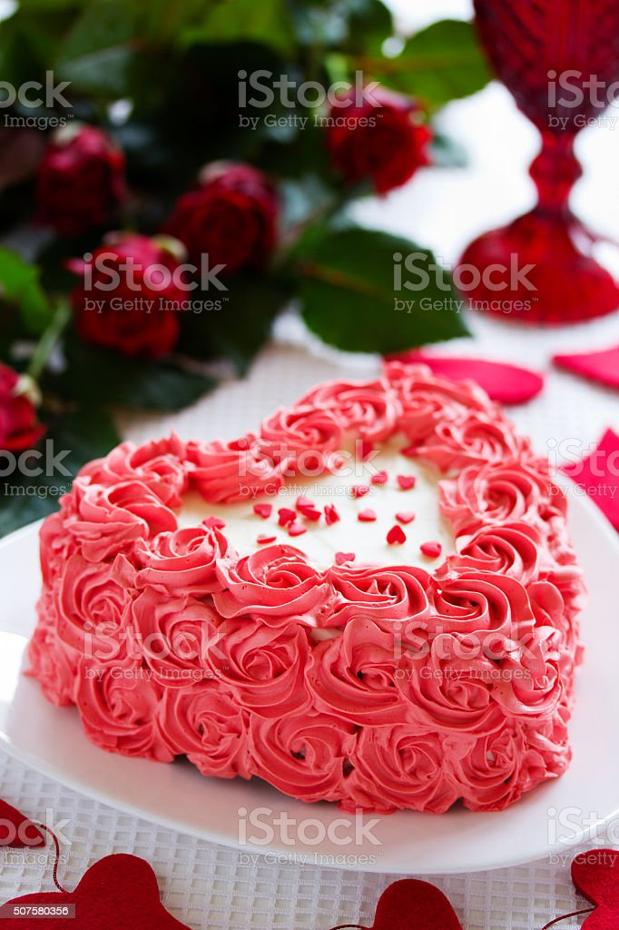 Awesome Birthday Cake For Valentines Day With Roses Stock Photo Download Birthday Cards Printable Riciscafe Filternl