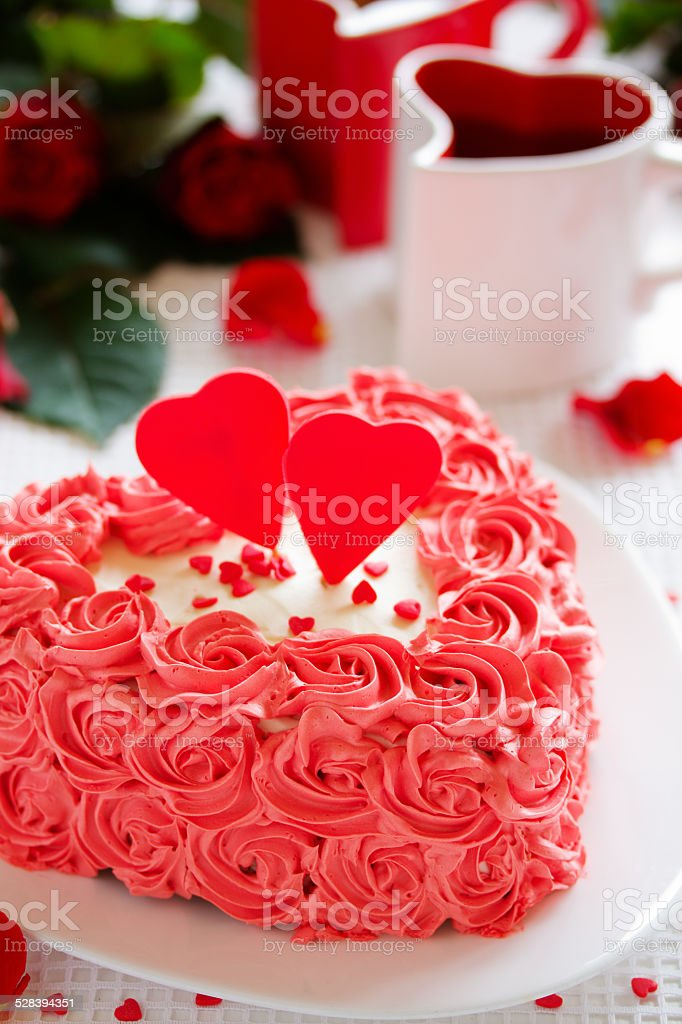 Marvelous Birthday Cake For Valentines Day With Roses Stock Photo Download Birthday Cards Printable Riciscafe Filternl