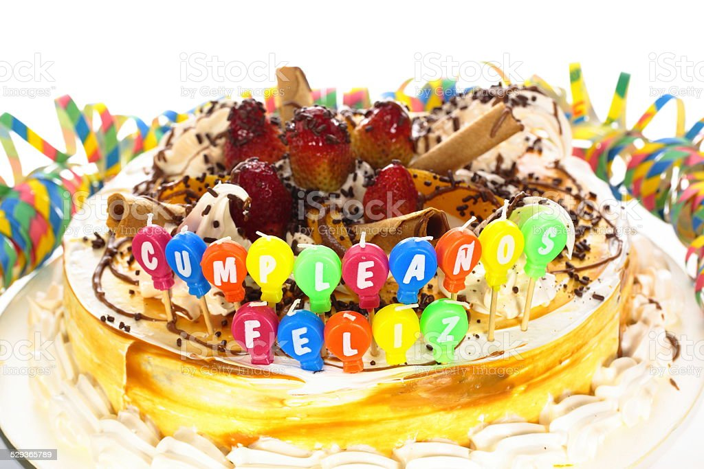 Sensational Birthday Cake In Spanish Stock Photo Download Image Now Istock Funny Birthday Cards Online Inifodamsfinfo