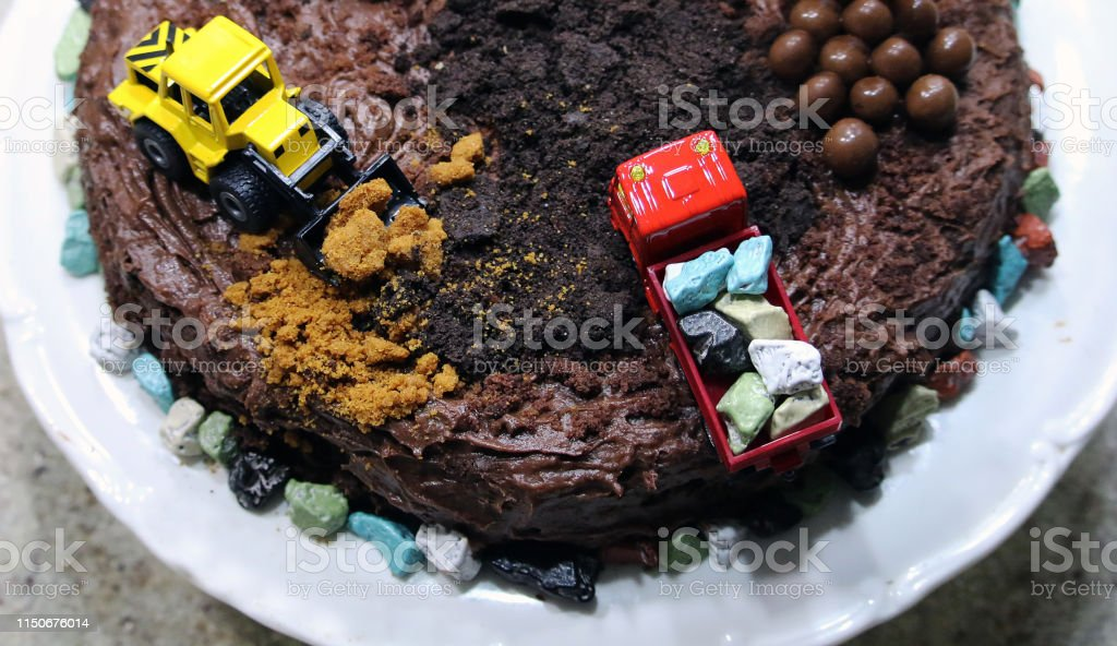 Astounding Birthday Cake In The Form Of A Construction Site Stock Photo Funny Birthday Cards Online Alyptdamsfinfo