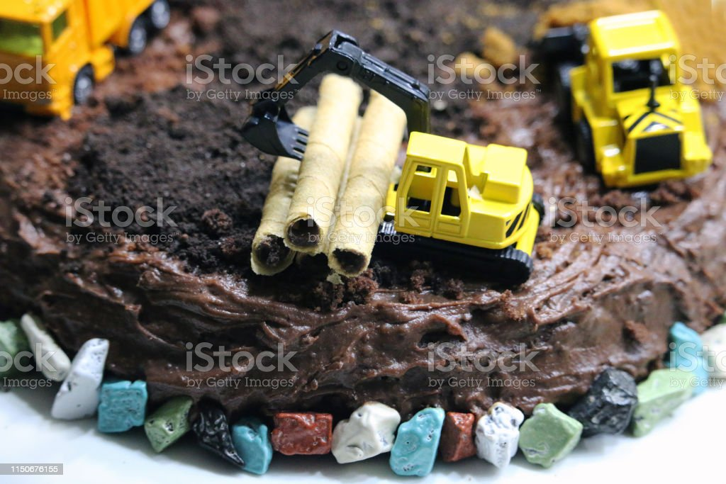 Terrific Birthday Cake In The Form Of A Construction Site Stock Photo Funny Birthday Cards Online Alyptdamsfinfo