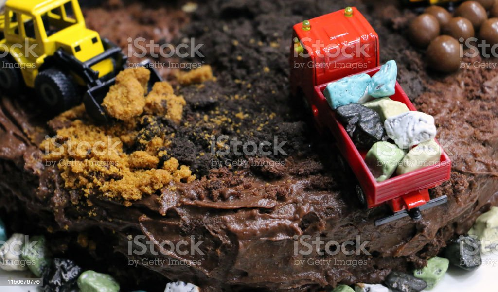Peachy Birthday Cake In The Form Of A Construction Site Stock Photo Funny Birthday Cards Online Alyptdamsfinfo