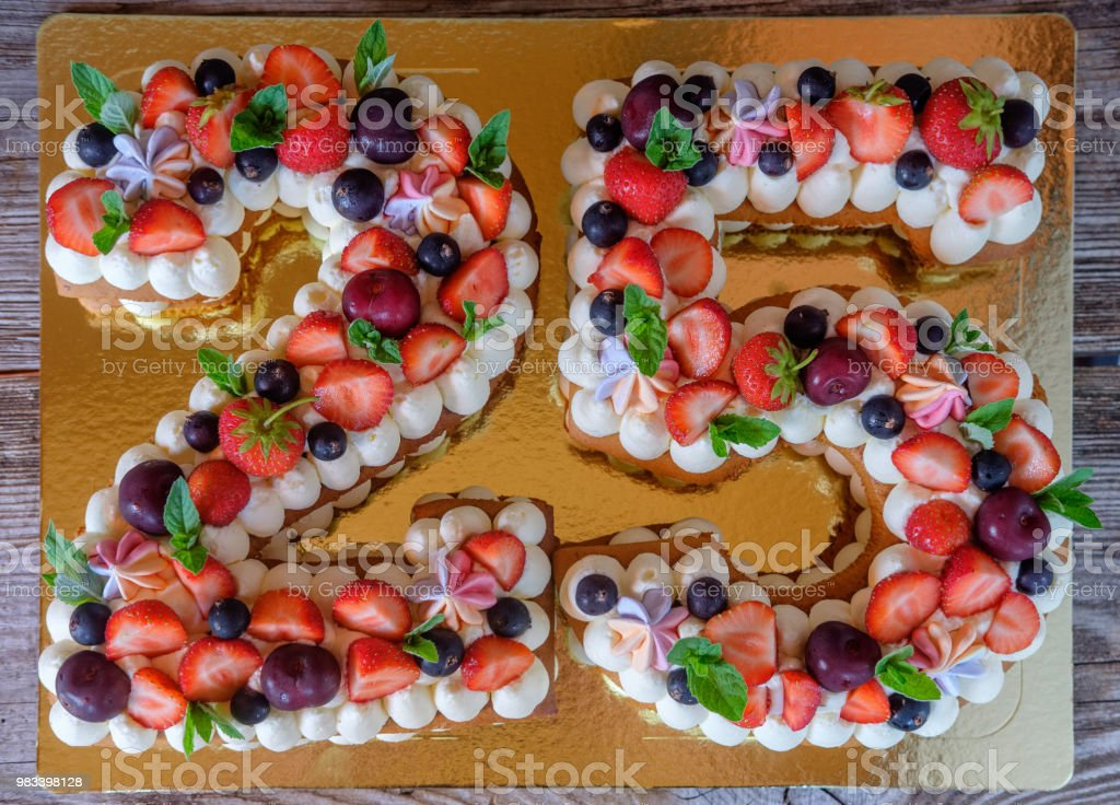 birthday cake in the form of the number twenty-five stock photo