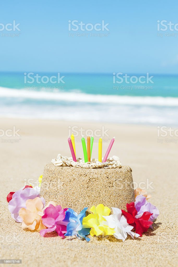 Birthday Cake in Tropical Paradise Beach royalty-free stock photo