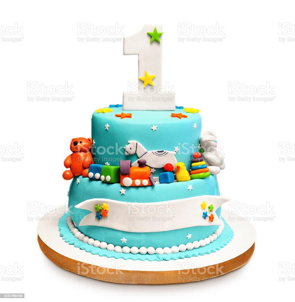 Birthday cake isolated on white background. stock photo