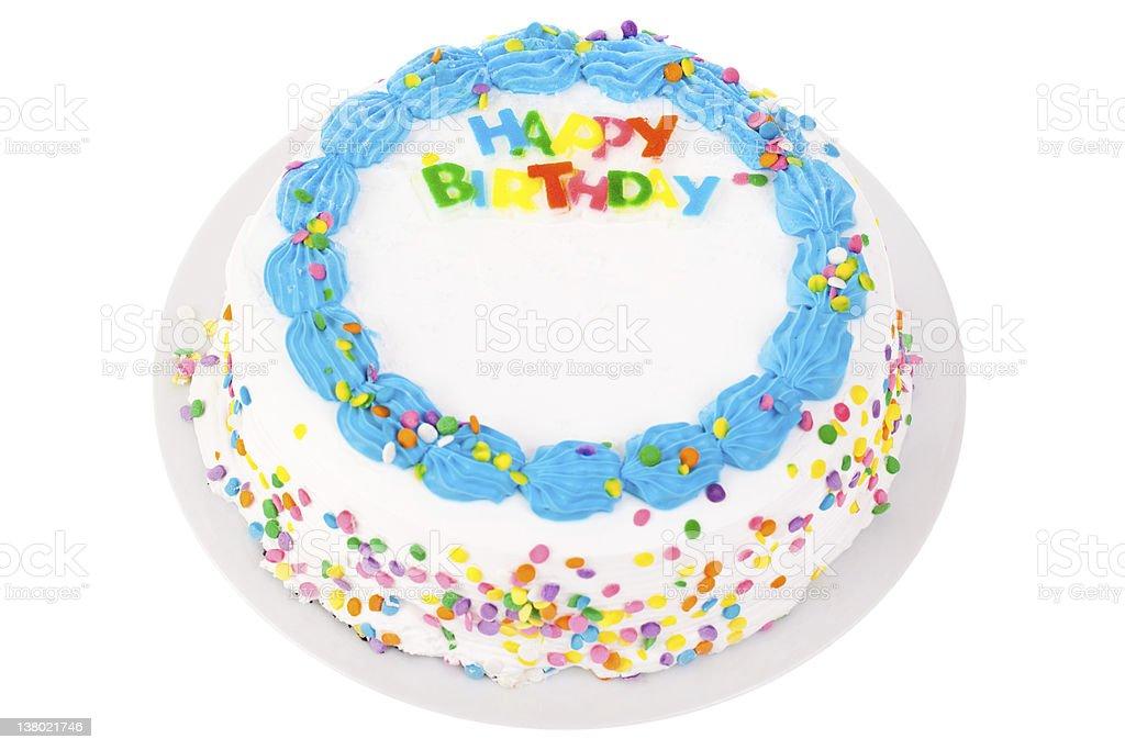 Birthday cake isolated on white stock photo
