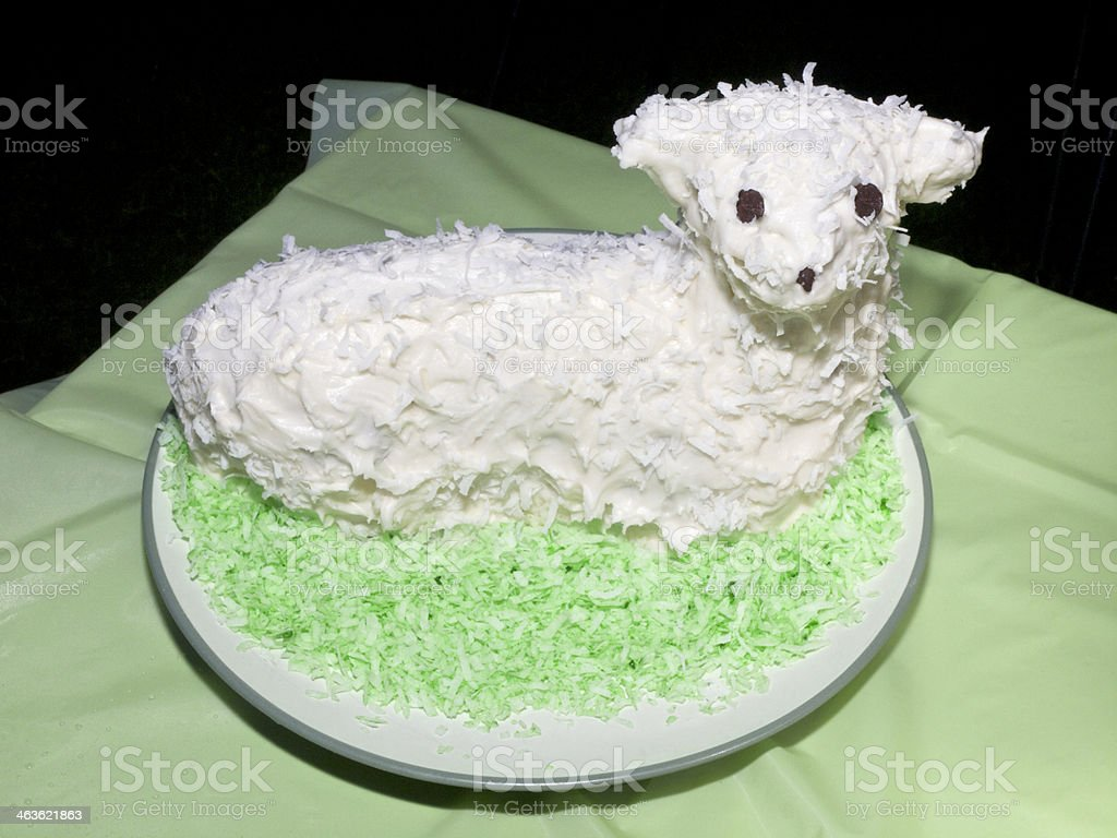 Birthday Cake Lamb White With Shredded Coconut Homemade Stock Photo
