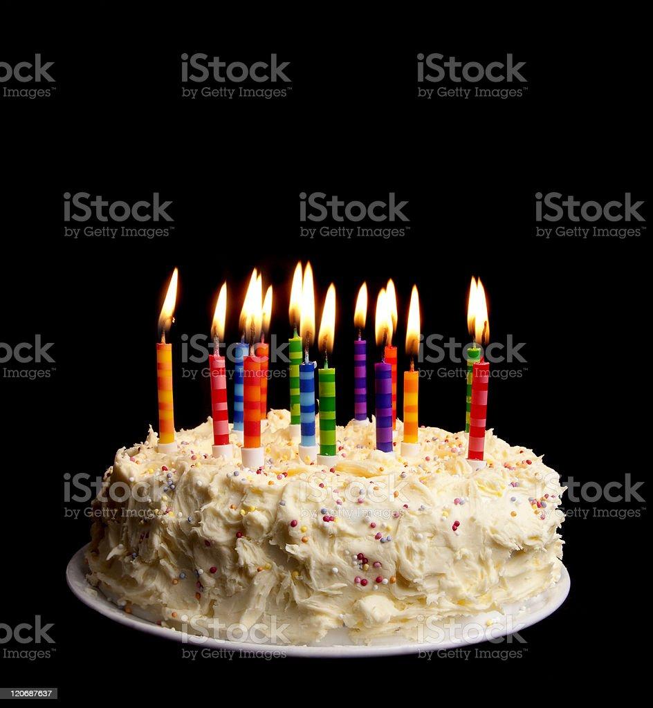 birthday cake on black stock photo