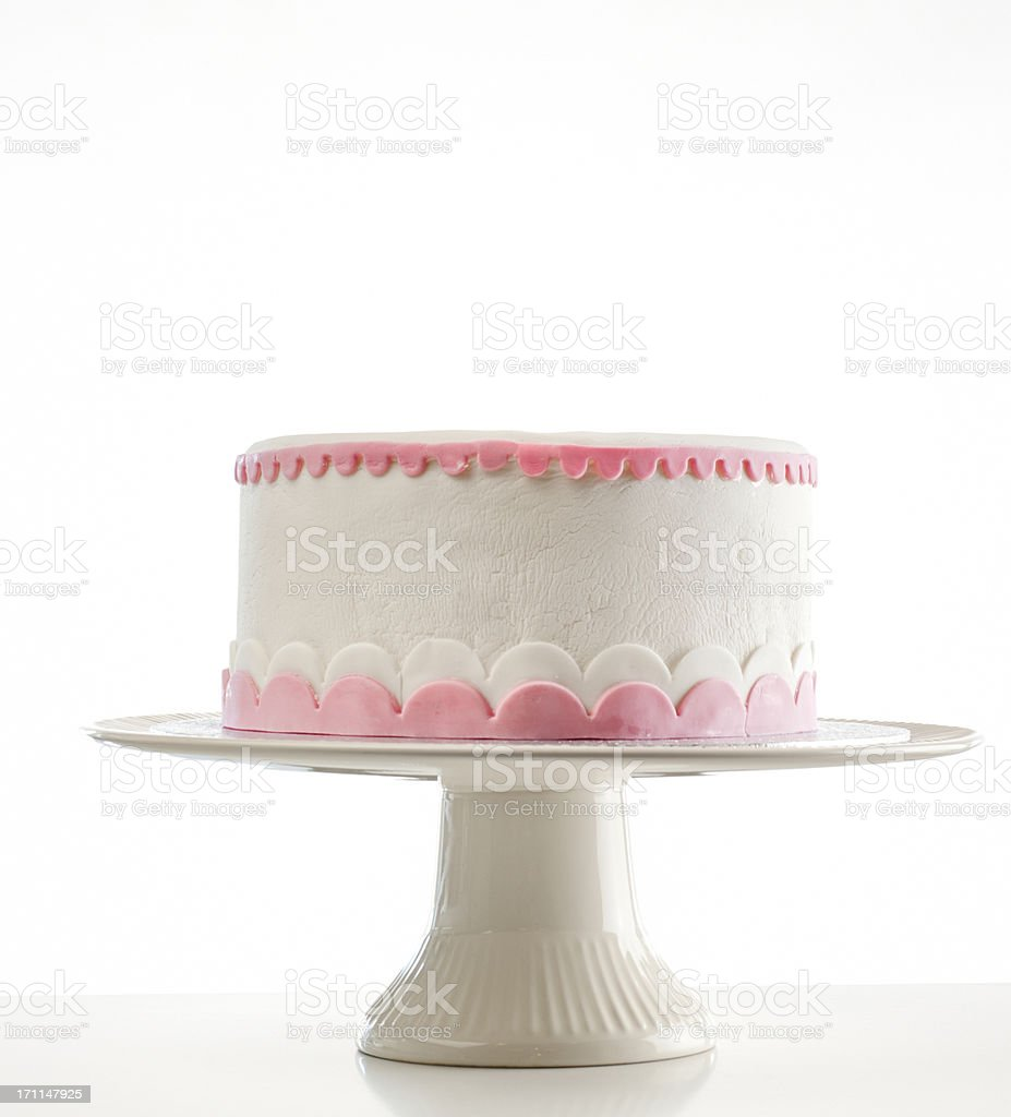 birthday cake on cakestand stock photo
