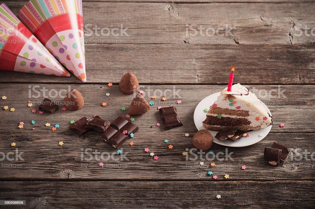 Birthday cake on wooden background Birthday cake on wooden background Bakery Stock Photo