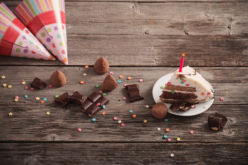 Birthday Cake On Wooden Background Stock Photo - Download Image Now