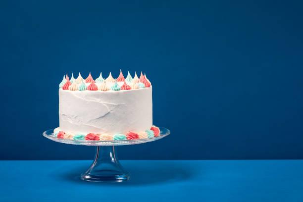 Birthday Cake over Blue stock photo