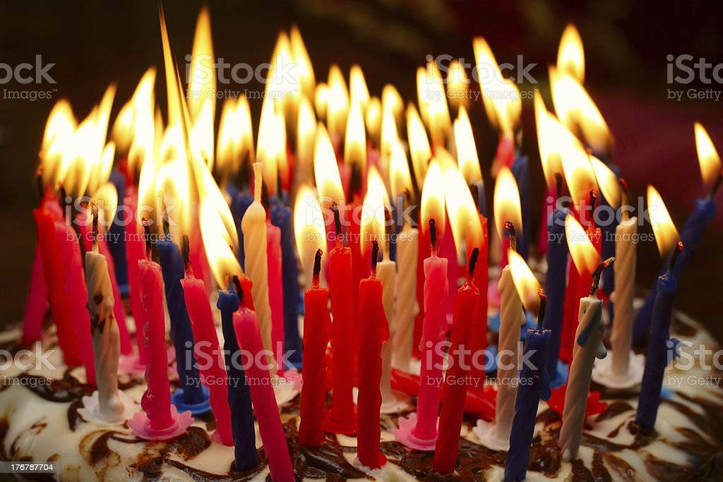 birthday cake birthday cake with the lot of burning candles 70-79 Years Stock Photo