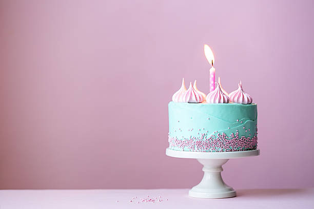 Birthday cake Birthday cake with one candle first birthday stock pictures, royalty-free photos & images