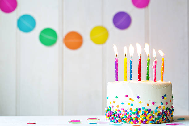 Birthday cake Birthday cake with colorful candles number 7 stock pictures, royalty-free photos & images