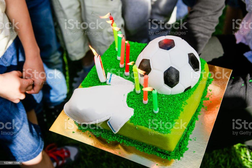 Amazing Birthday Cake Soccer Player Ball Shirt Candles Stock Photo Funny Birthday Cards Online Aboleapandamsfinfo