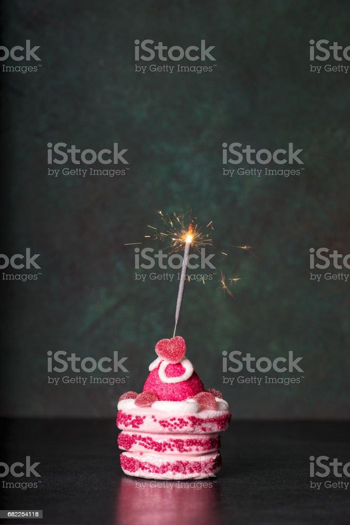 Birthday Cake With Sparkler On Dark Background Holidays Decoration