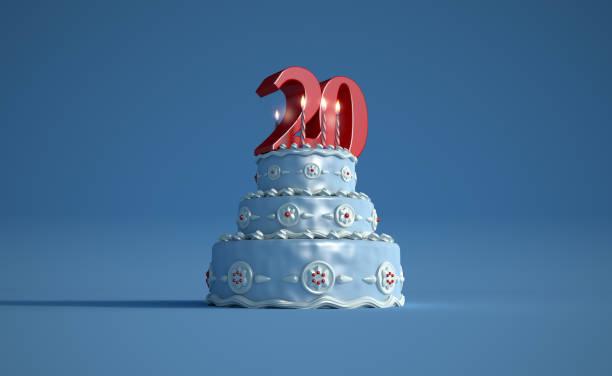 Gâteau d'anniversaire vingtième anniversaire - Photo