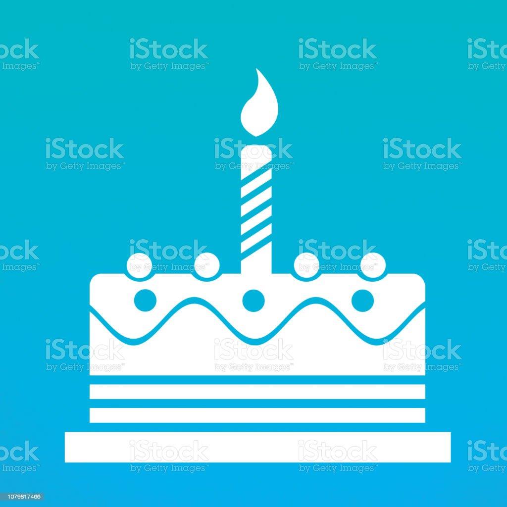 Birthday cake web icon stock photo