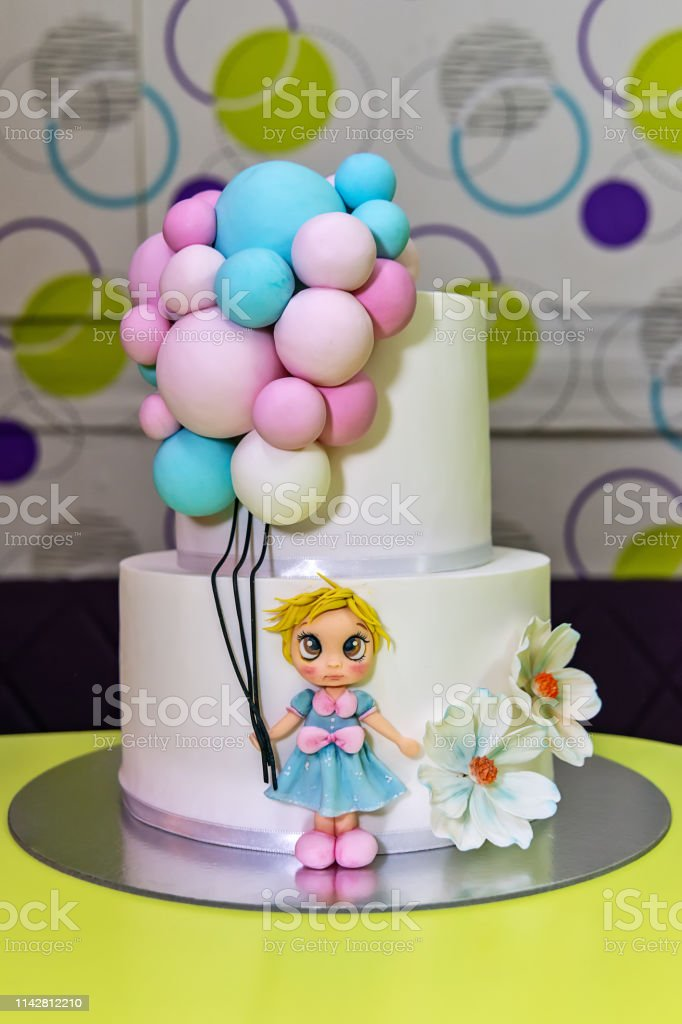Strange Birthday Cake Whit Little Girl And Balloons Stock Photo Download Funny Birthday Cards Online Overcheapnameinfo