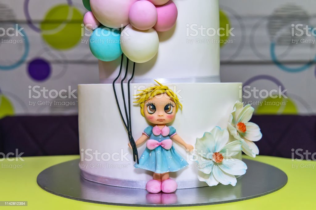 Superb Birthday Cake Whit Little Girl And Balloons Stock Photo Download Personalised Birthday Cards Xaembasilily Jamesorg