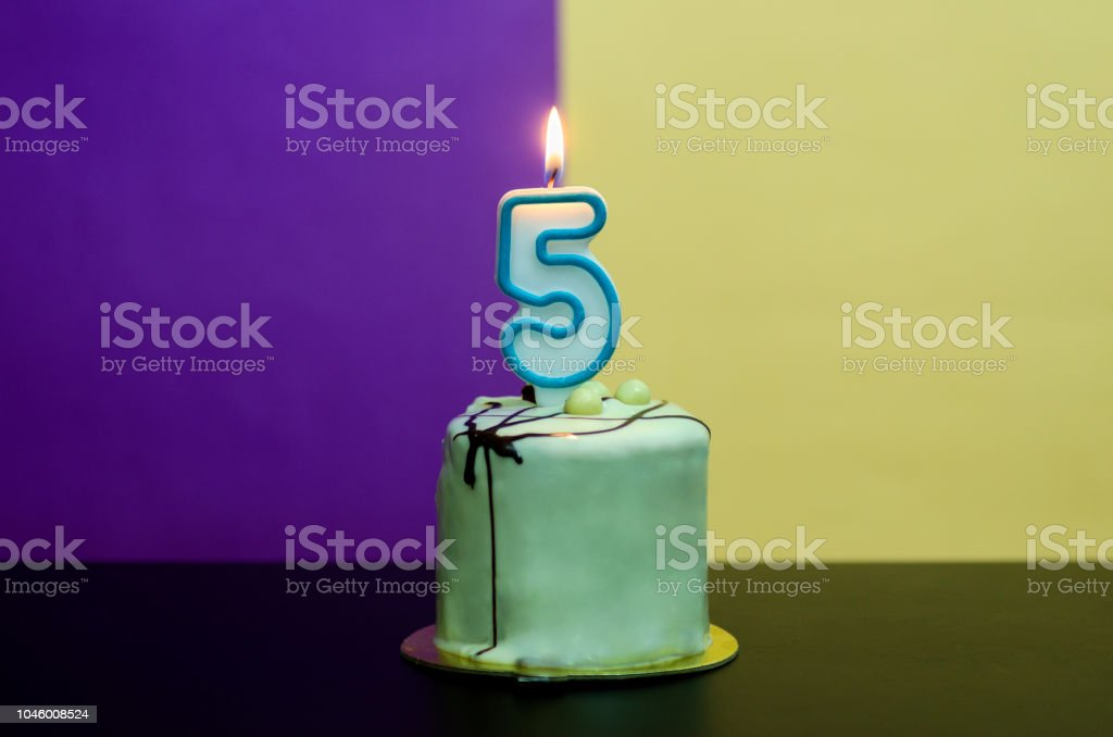 Birthday cake with 5 number candle stock photo
