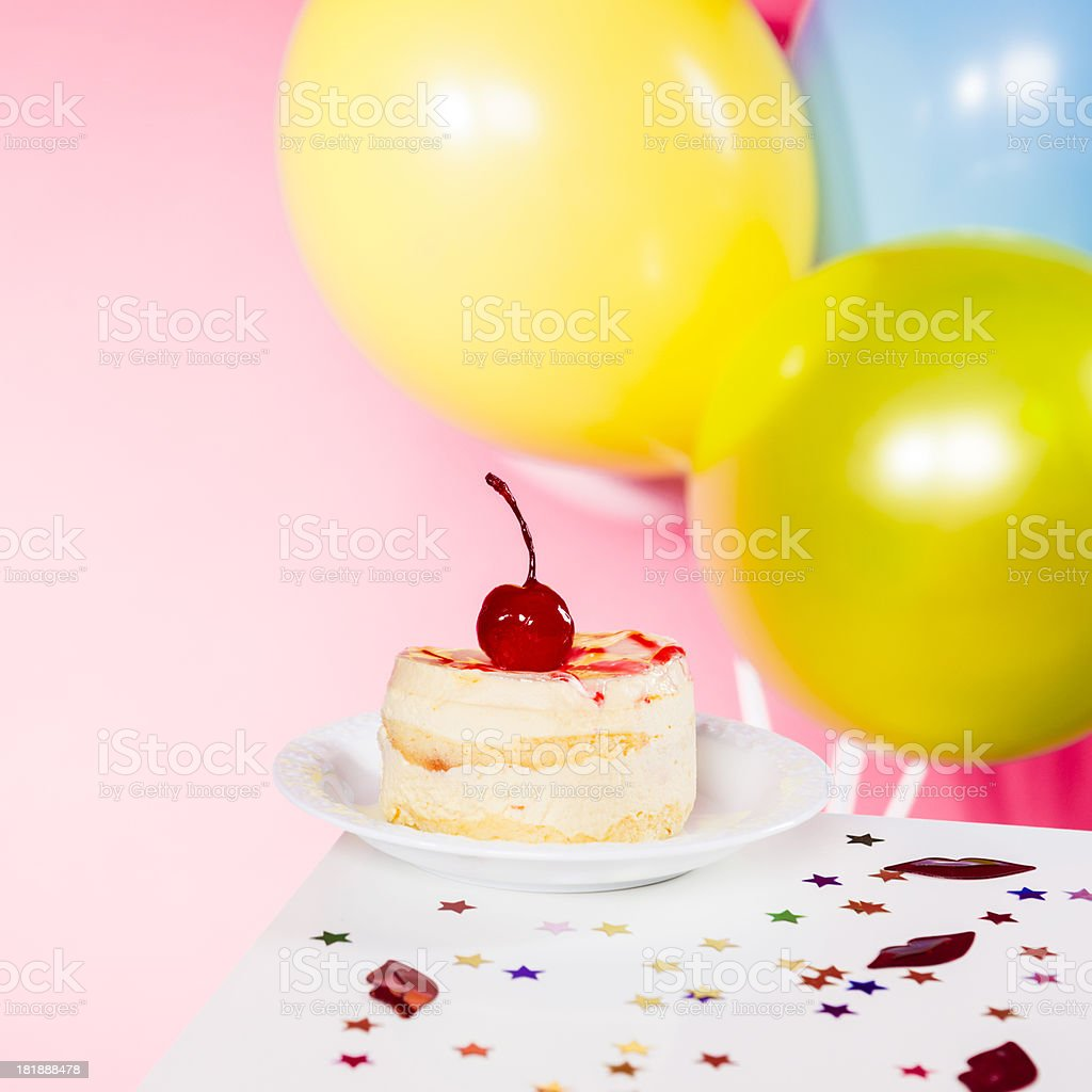 Birthday Cake With Balloons On The Table Isolated Pink Stock Photo