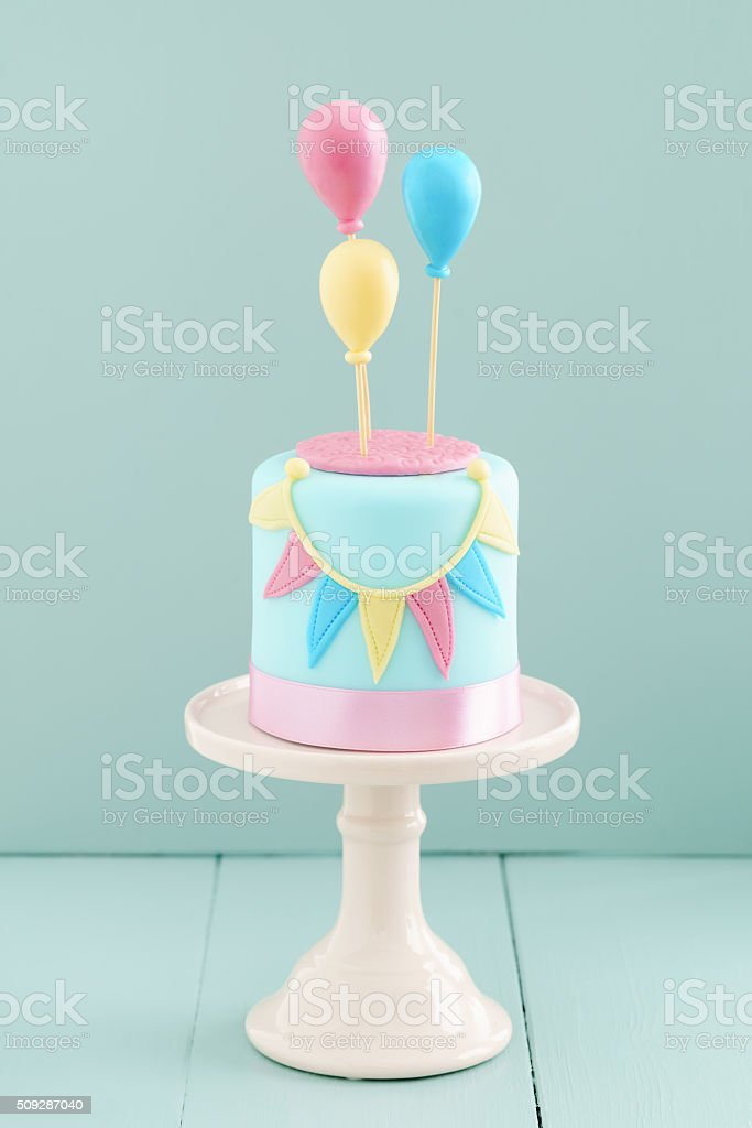 Birthday Cake With Balloons Stock Photo More Pictures of Baked