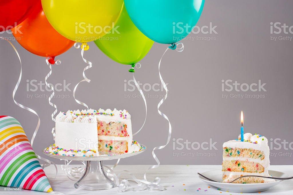 Birthday Cake With Balloons Royalty Free Stock Photo