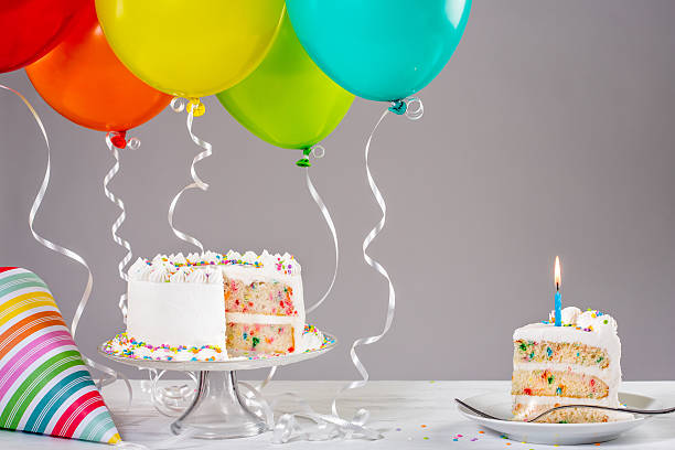Birthday Cake with Balloons stock photo