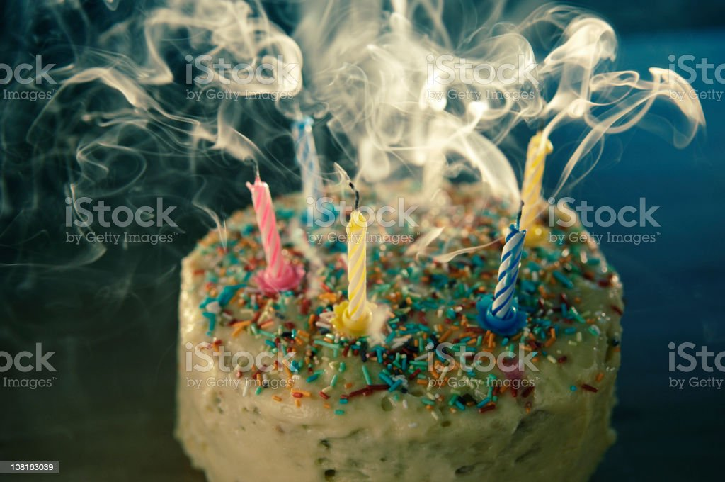 Birthday Cake with Blown Out Candles royalty-free stock photo