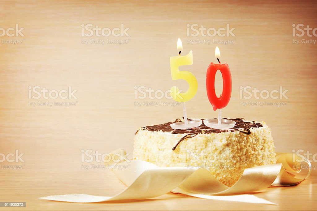 Birthday cake with burning candle as a number fifty – Foto