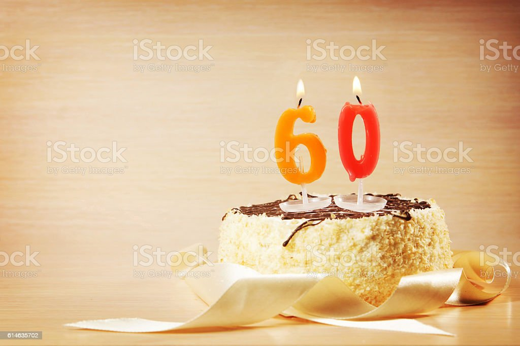 Pleasant Birthday Cake With Burning Candle As A Number Sixty Stockfoto En Personalised Birthday Cards Akebfashionlily Jamesorg