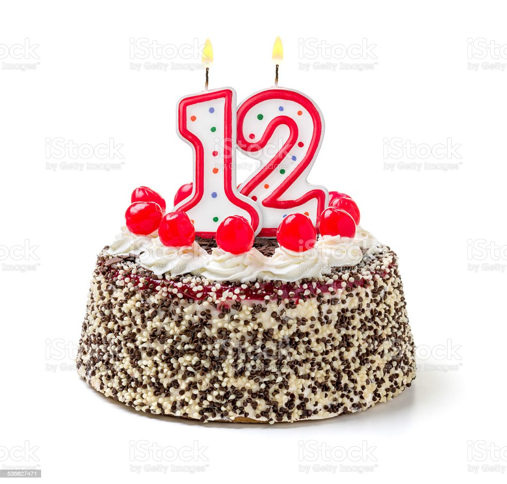 Birthday Cake With Burning Candle Number 12 Stock Photo