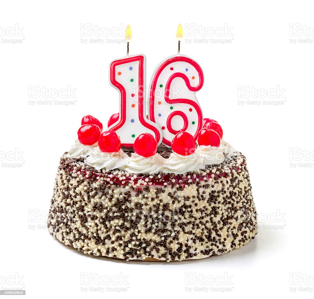 Birthday cake with burning candle number 16 stock photo