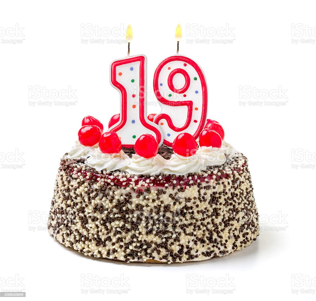 Birthday Cake With Burning Candle Number 19 Stock Photo More