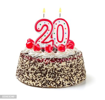 istock Birthday cake with burning candle number 20 535630961