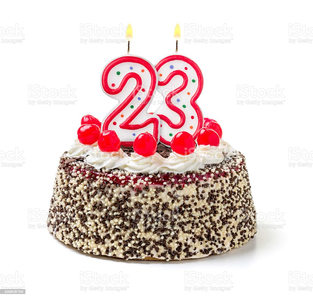 Birthday cake with burning candle number 23 stock photo more birthday cake with burning candle number 23 royalty free stock photo thecheapjerseys Images
