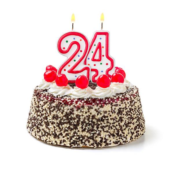 gâteau d'anniversaire avec feu bougie numéro 24 heures sur 24 - nombre 24 photos et images de collection