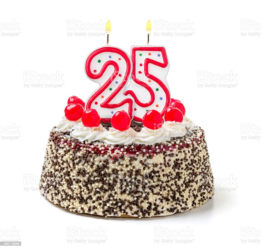 Birthday cake with burning candle number 25 stock photo