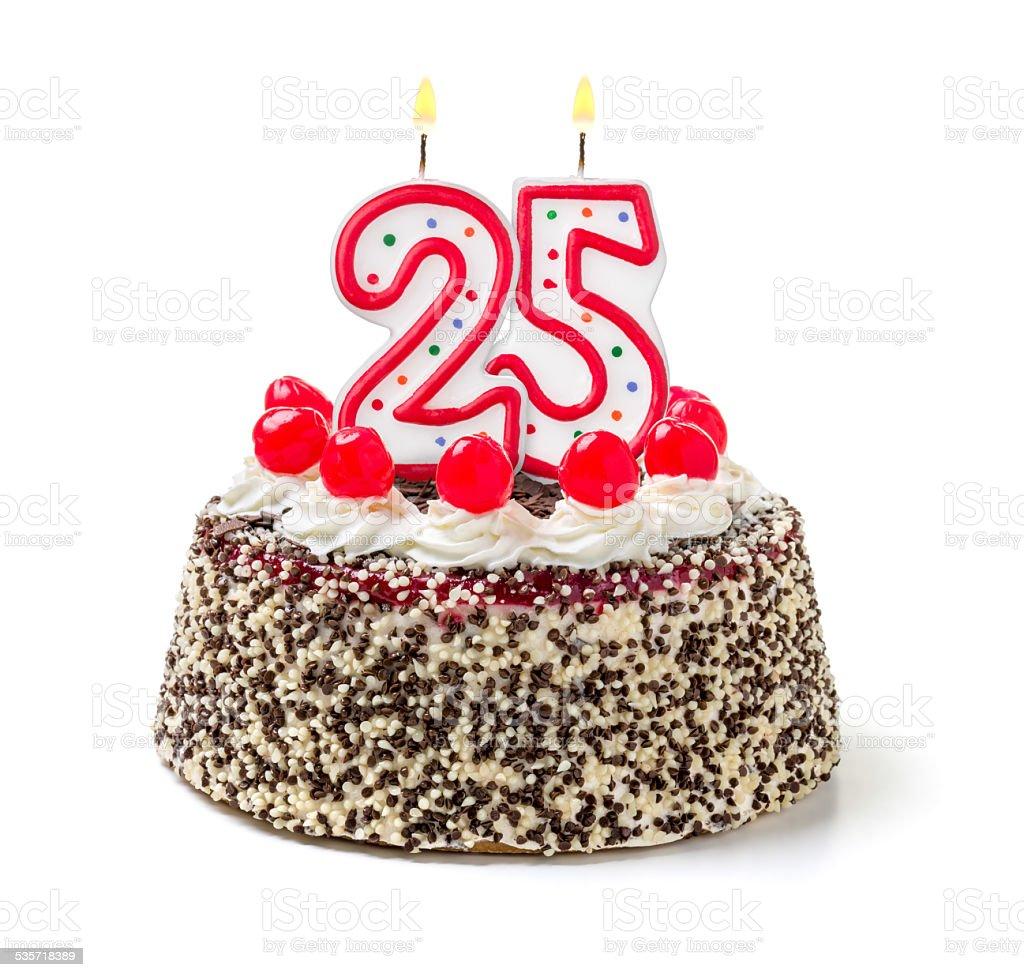 Geburtstagstorte mit brennenden Kerzen Zahl 25 – Foto