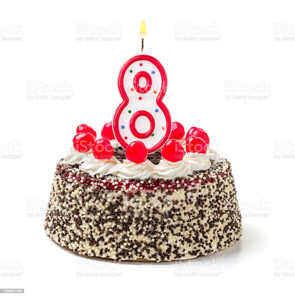 Birthday Cake With Burning Candle Number 8 Stock Photo More