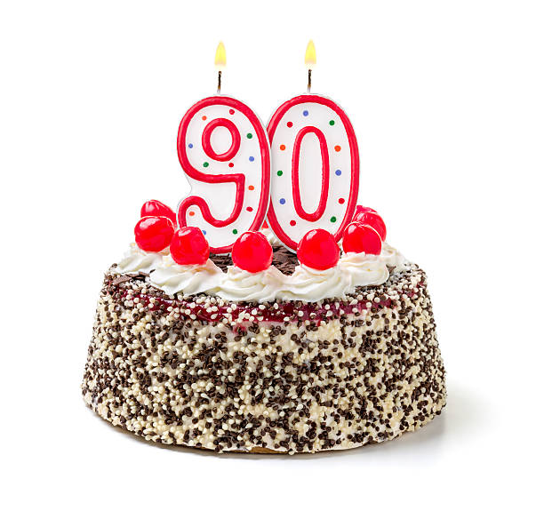 birthday cake with burning candle number 90 - number 90 stock photos and pictures