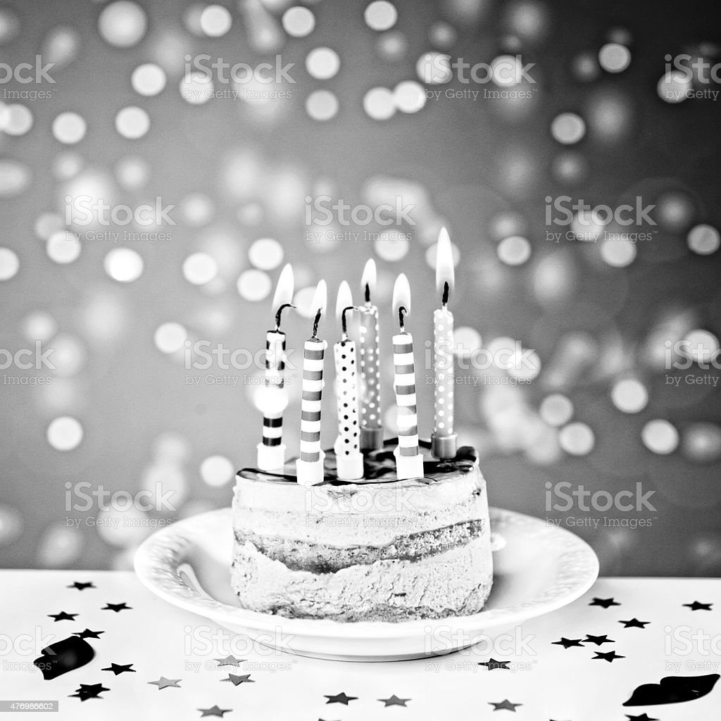 Birthday Cake With Burning Candles Flickering Defocused Lights Retro Style Royalty Free Stock