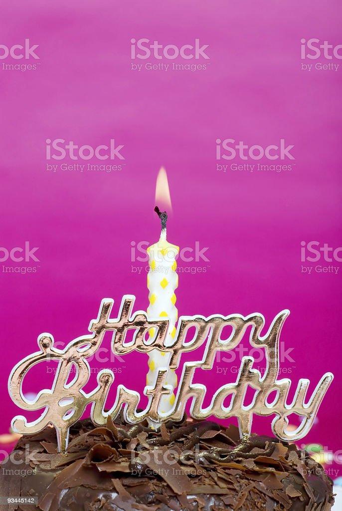 Geburtstagstorte mit Kerze und-Nahaufnahme Lizenzfreies stock-foto