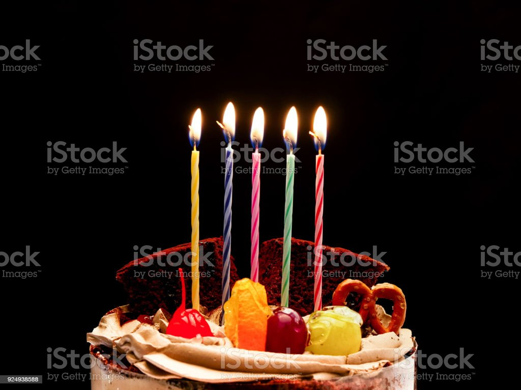 Birthday Cake With Candle Isolated Stock Photo More Pictures Of