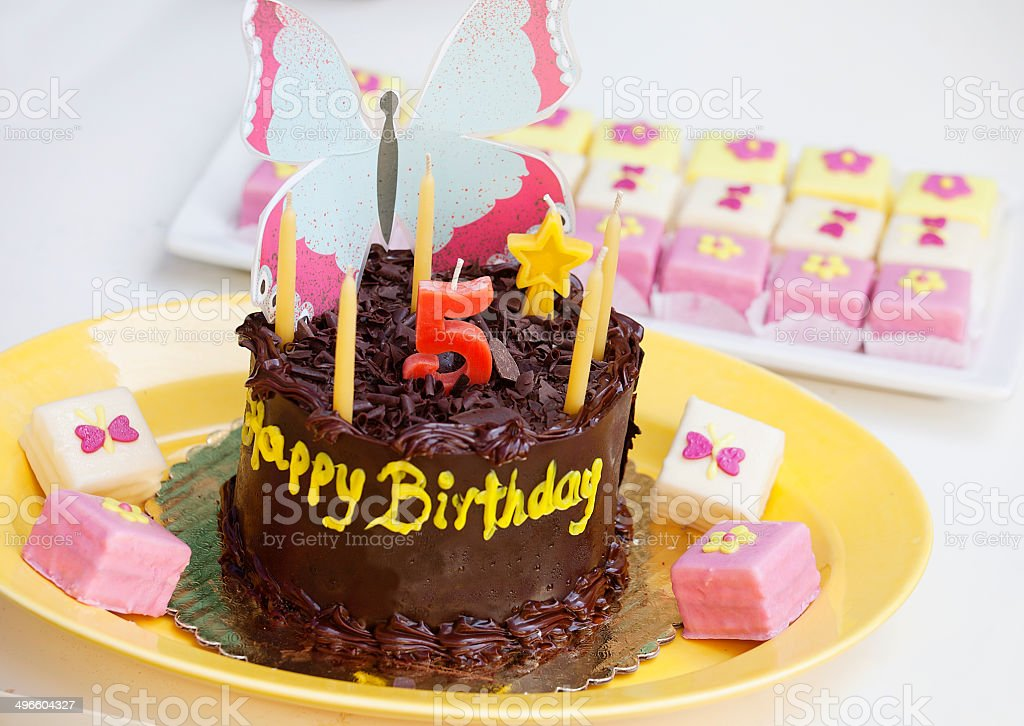 Birthday Cake With Candle Number 5 Stock Photo More Pictures Of