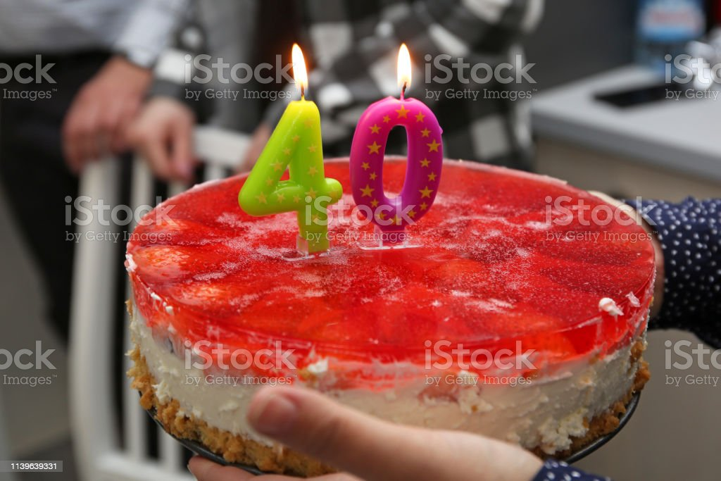 Marvelous Birthday Cake With Candles For 40Th Birthday Stock Photo Personalised Birthday Cards Veneteletsinfo