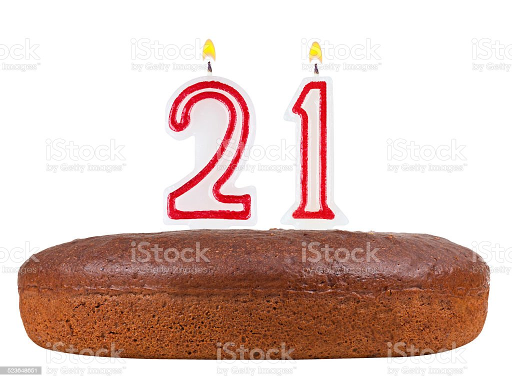 Birthday Cake With Candles Number 21 Isolated On White Royalty Free Stock Photo